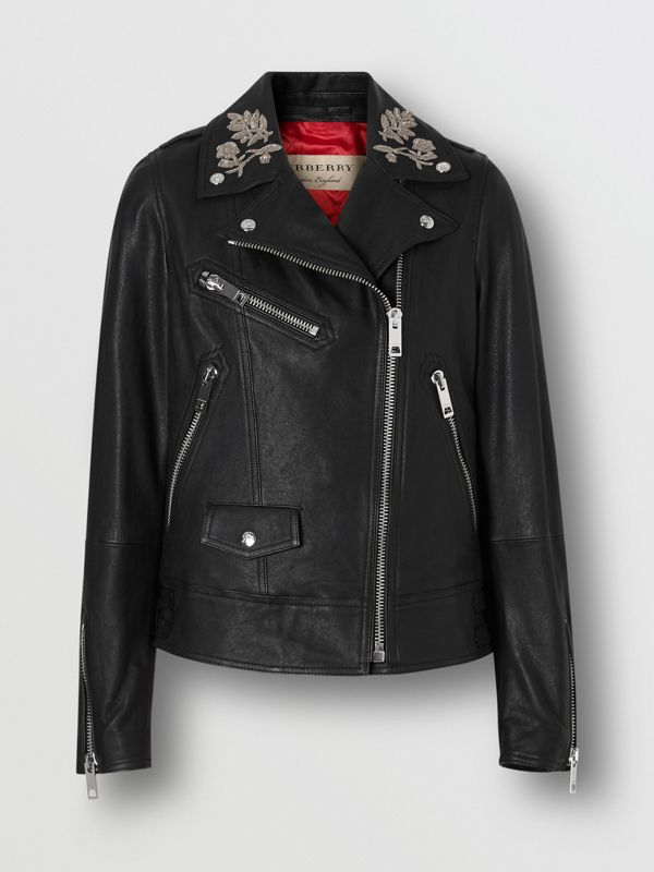 Bullion Floral Lambskin Biker Jacket in Black - Women | Burberry United States - cell image 3