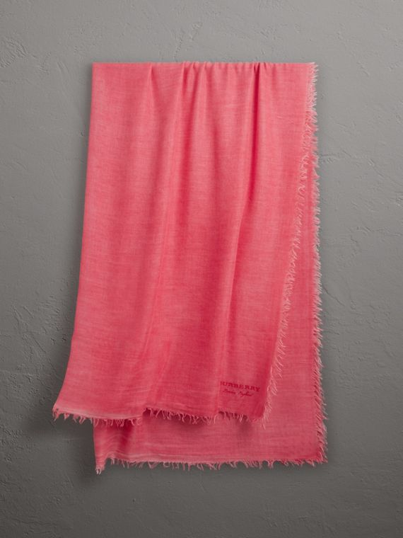 Embroidered Cashmere Cotton Scarf in Bright Coral Pink