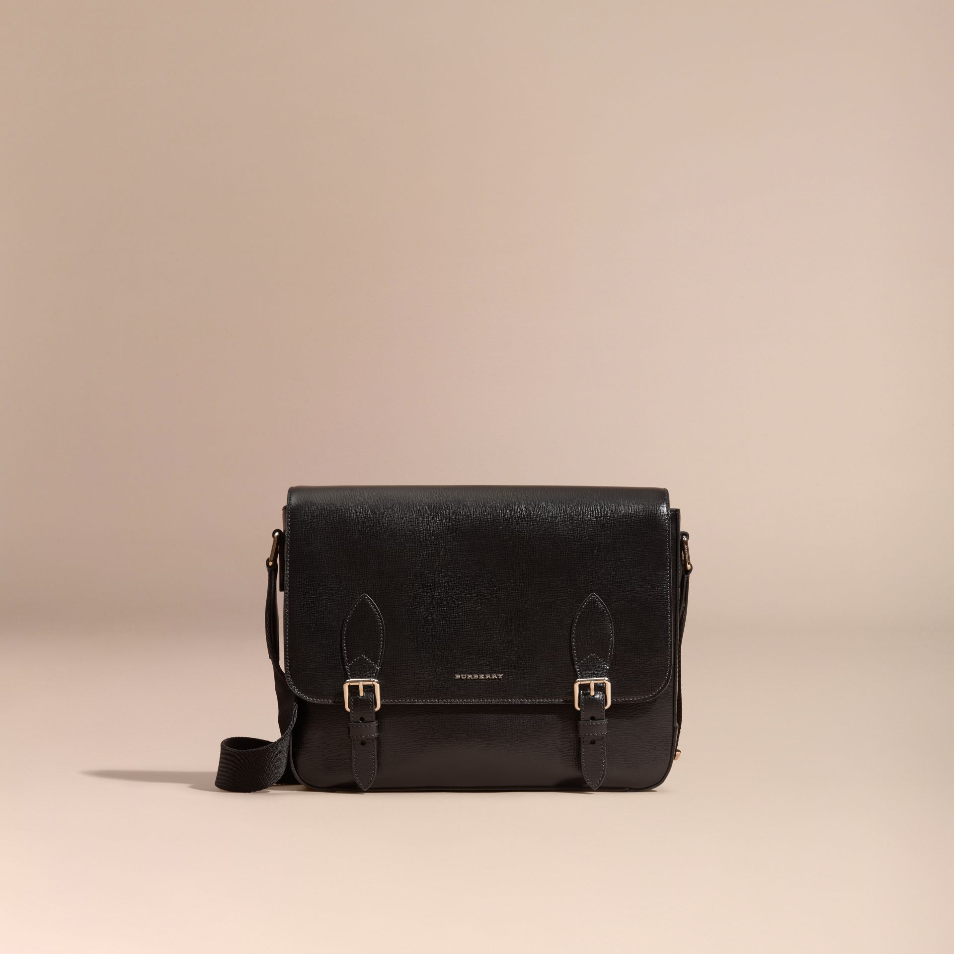 Medium London Leather Messenger Bag in Black - gallery image 8