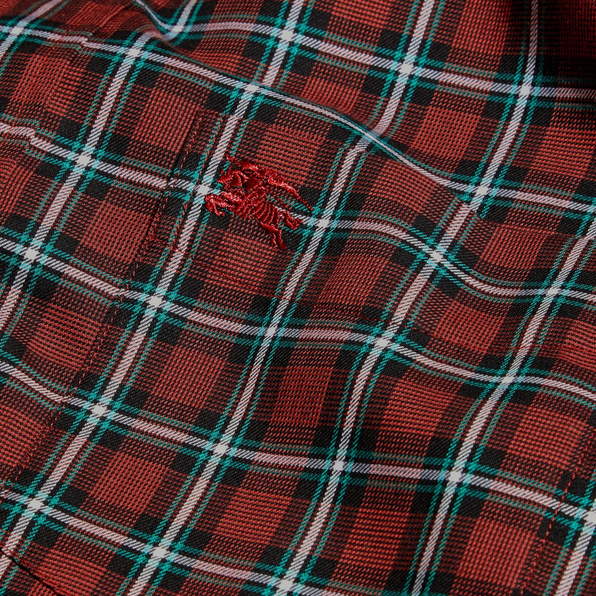 Rosso parata Camicia in twill di cotone con motivo tartan Rosso Parata - immagine della galleria 2