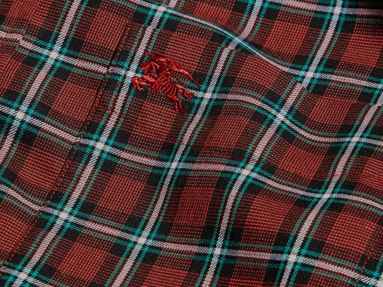 Vermelho Camisa de sarja de algodão com estampa xadrez tartã Vermelho - cell image 1