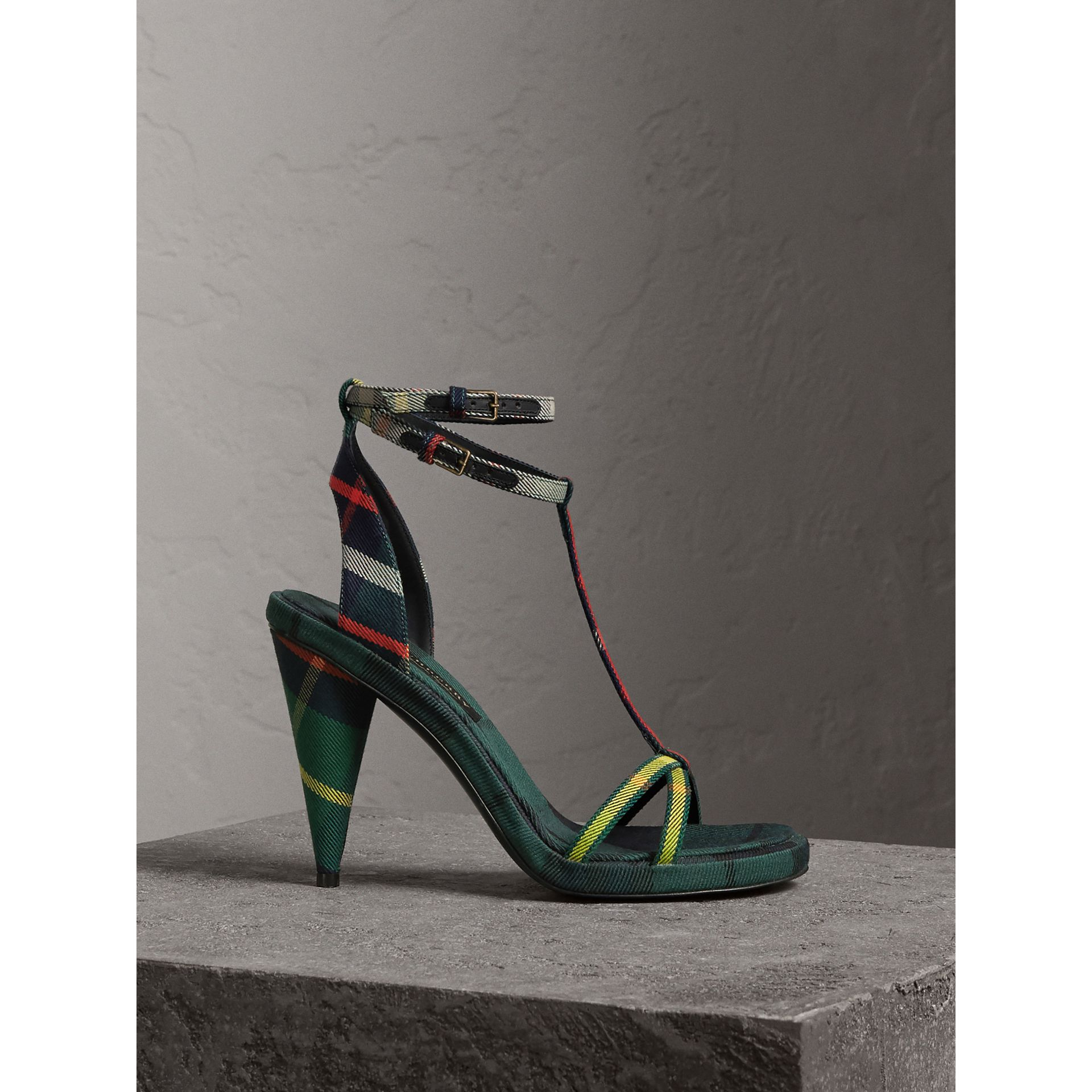Tartan Cotton High Cone-heel Sandals in Forest Green - Women | Burberry Australia - gallery image 1