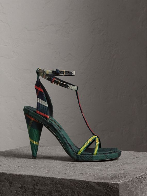 Tartan Cotton High Cone-heel Sandals in Forest Green