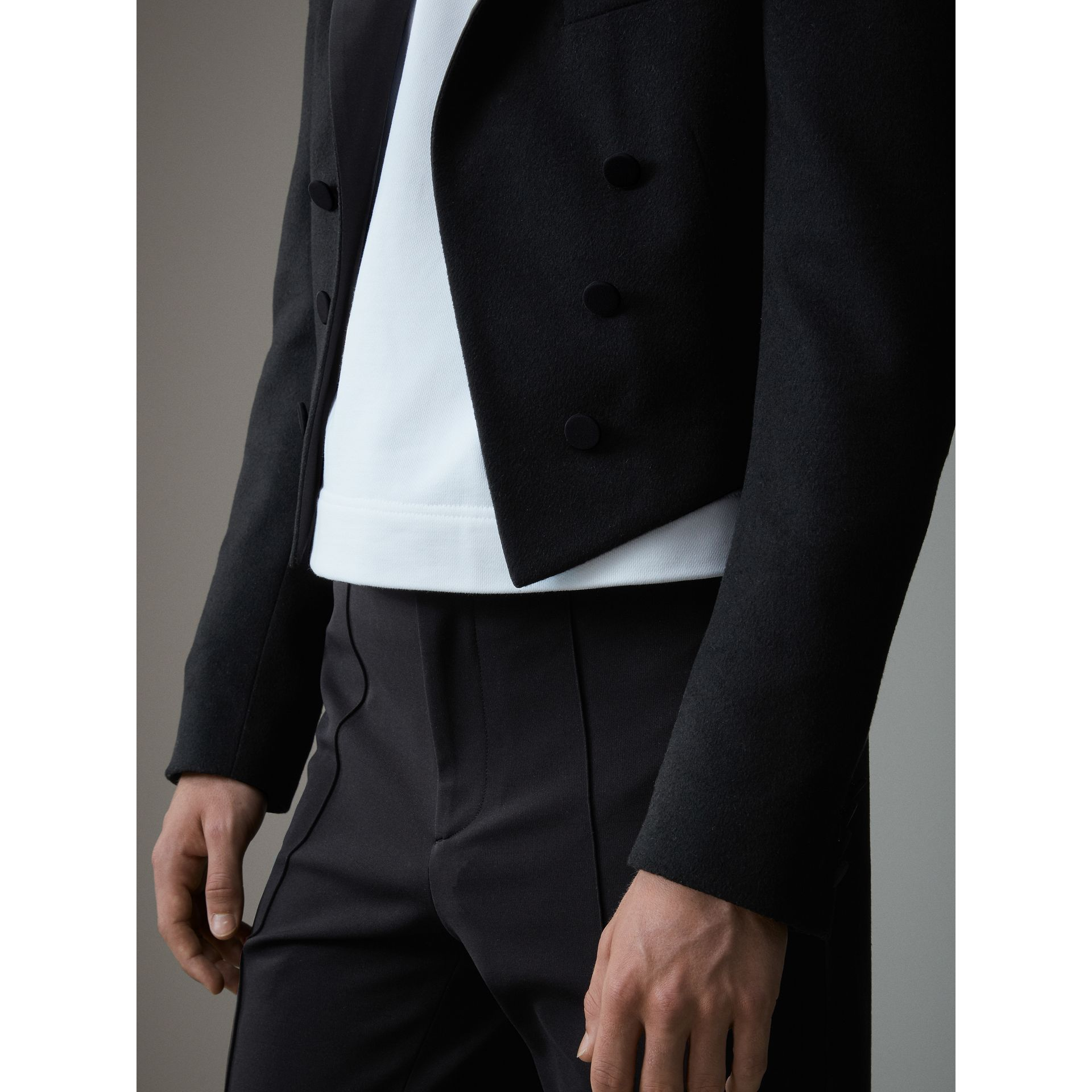 Felted Wool Tailcoat in Black - Men | Burberry - gallery image 5
