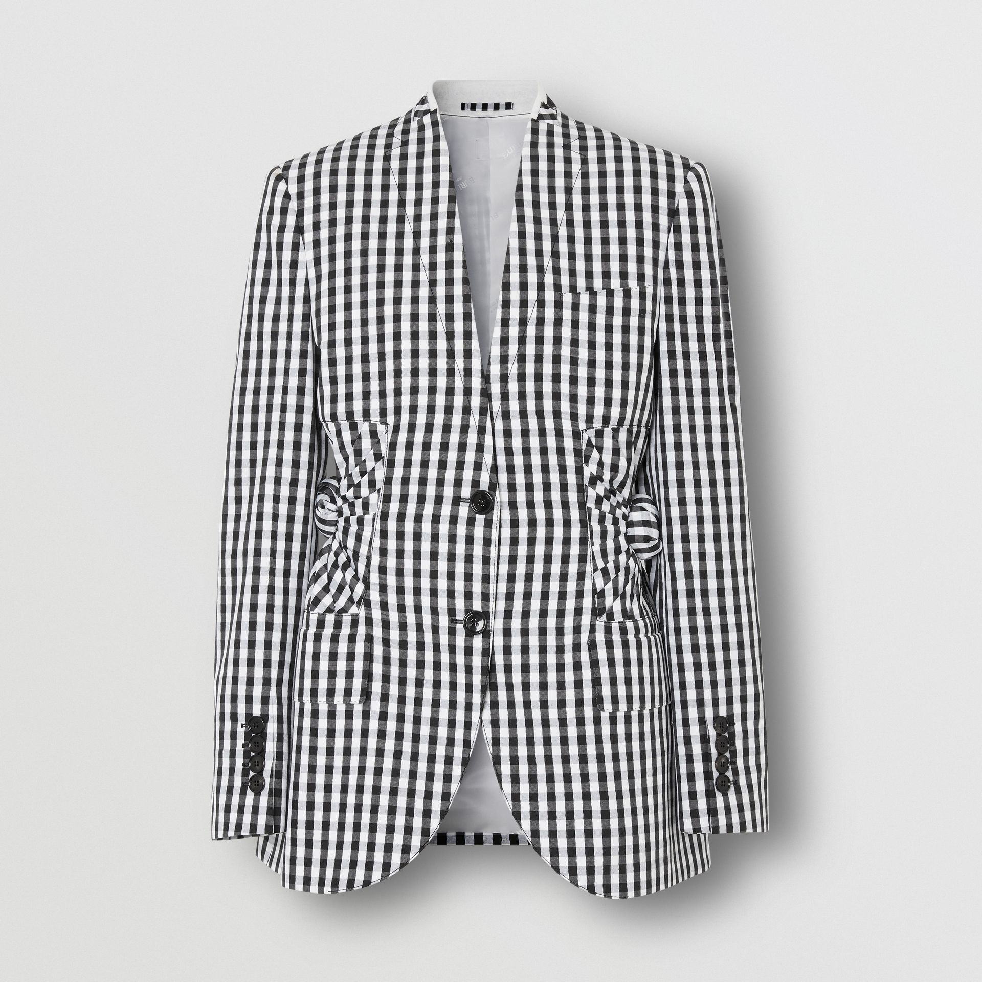 Gingham Technical Wool Blazer in Black - Women | Burberry - gallery image 3