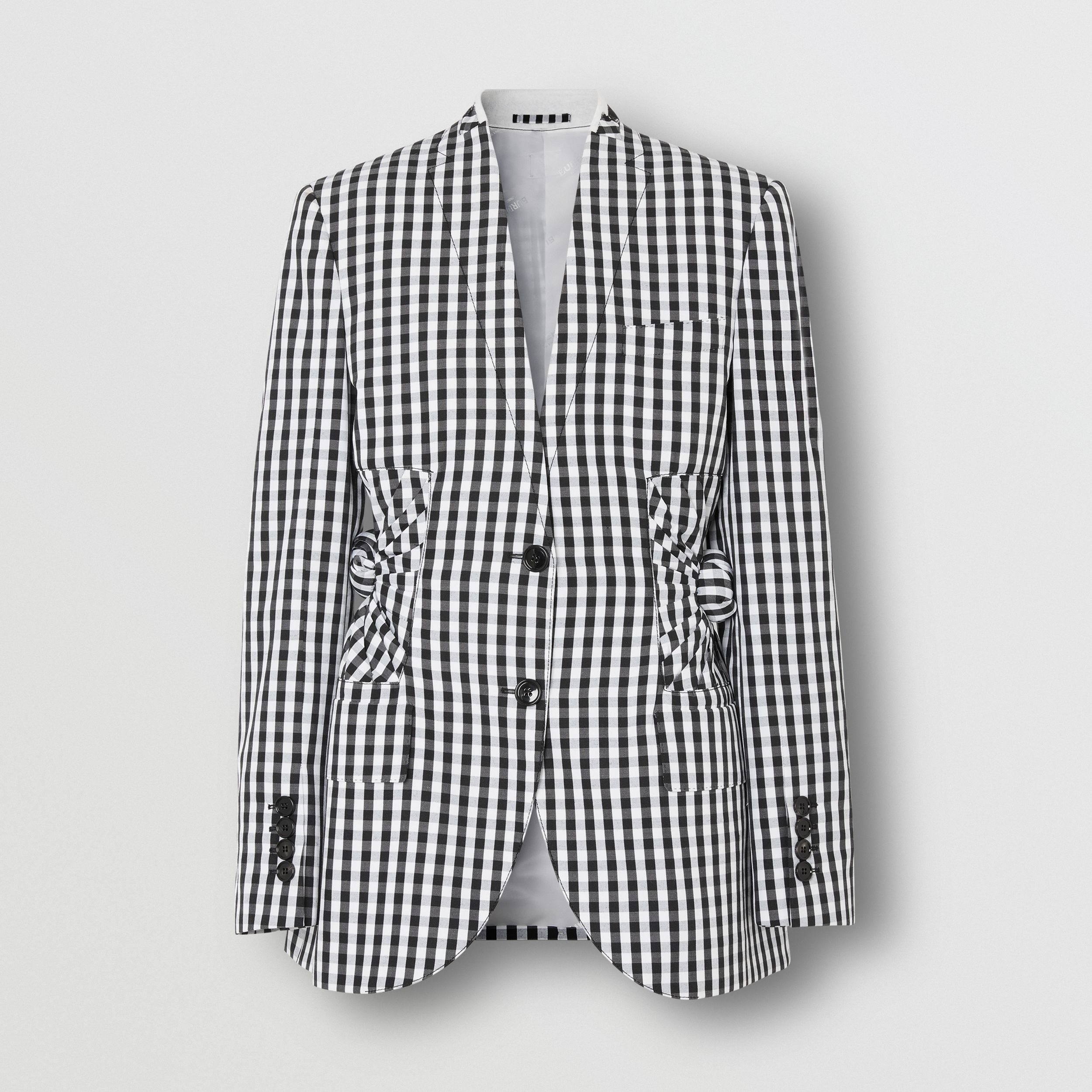 Gingham Technical Wool Blazer in Black - Women | Burberry - 4