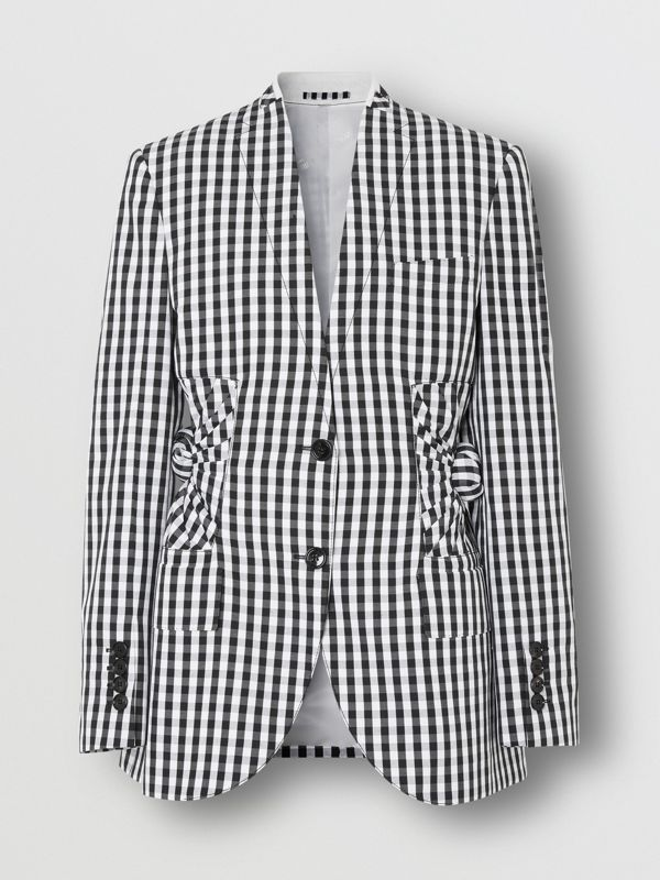 Gingham Technical Wool Blazer in Black - Women | Burberry United Kingdom - cell image 3