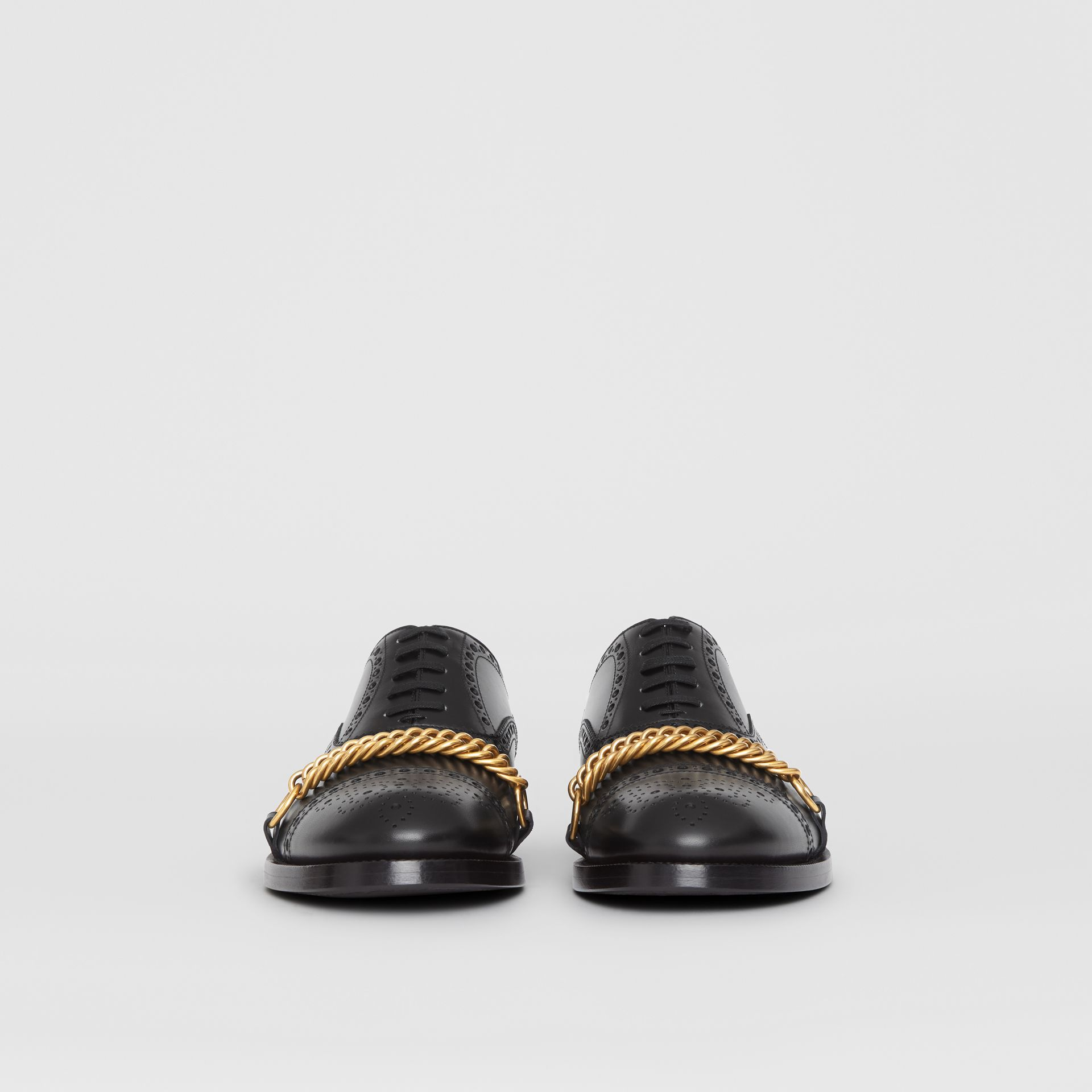 Link Detail Leather Brogues in Black - Men | Burberry - gallery image 2