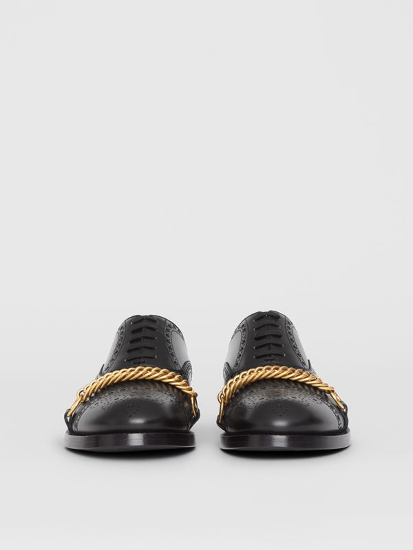 Link Detail Leather Brogues in Black - Men | Burberry - cell image 3