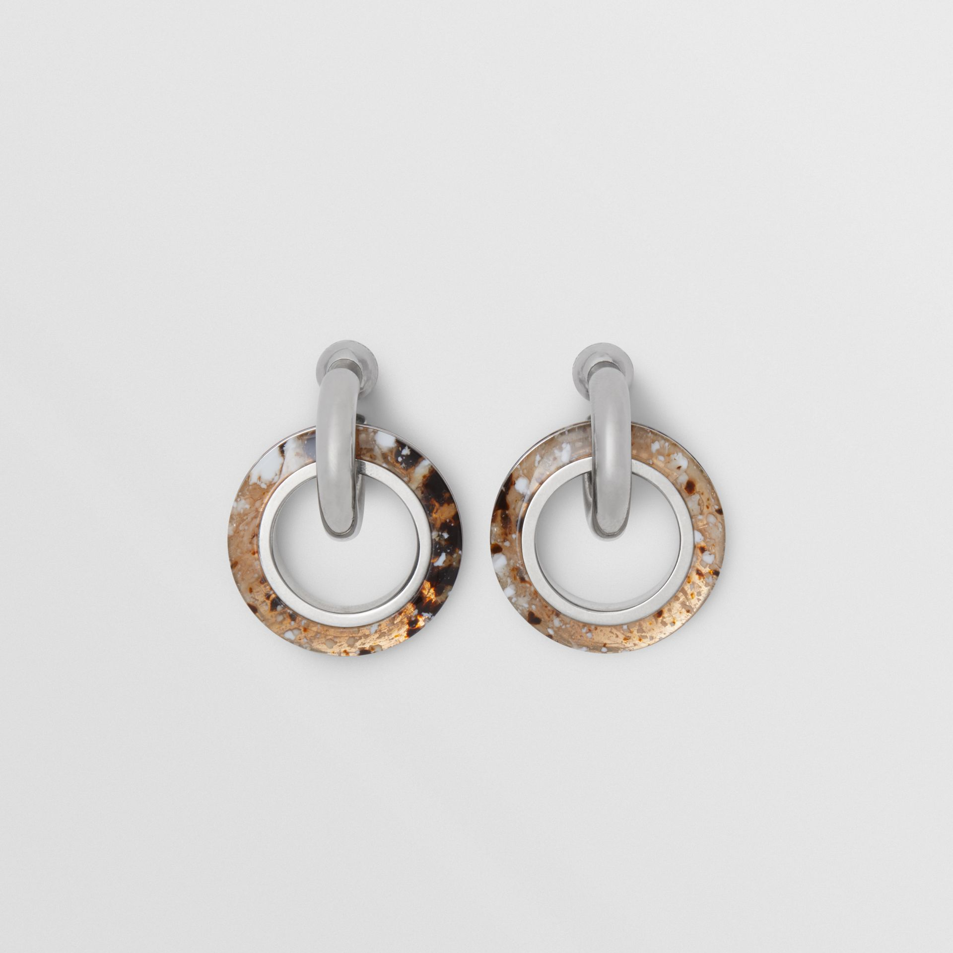 Marbled Resin Detail Double Grommet Earrings in Palladio/caramel - Women | Burberry - gallery image 0