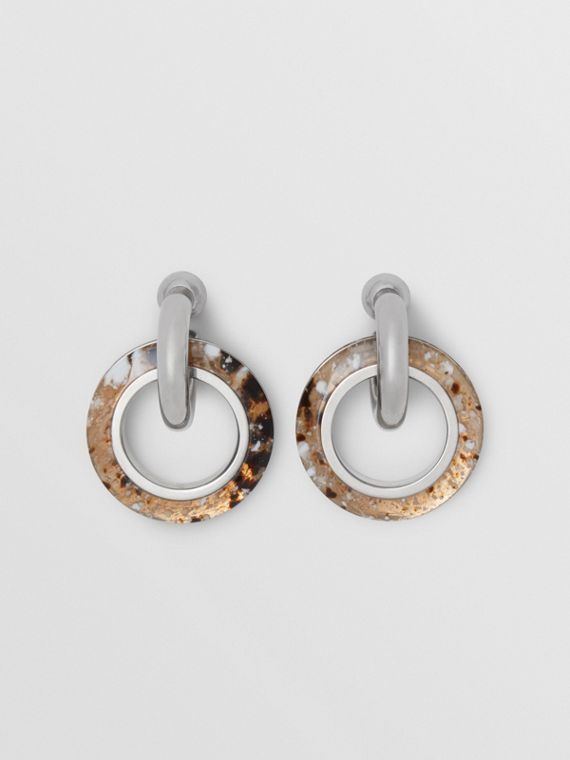 Marbled Resin Detail Double Grommet Earrings in Palladio/caramel