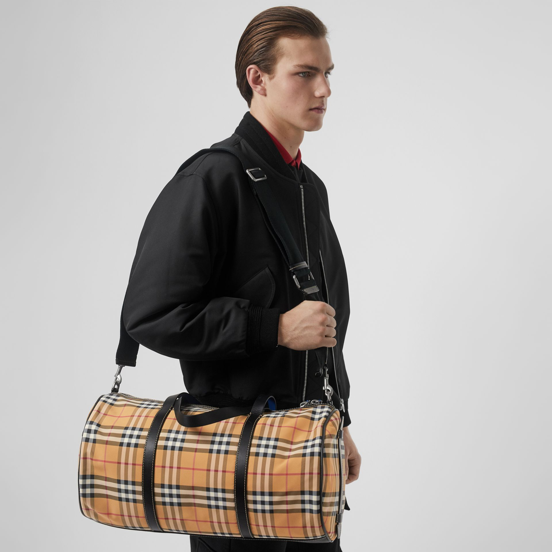 Medium Vintage Check and Leather Barrel Bag in Antique Yellow - Men | Burberry - gallery image 5