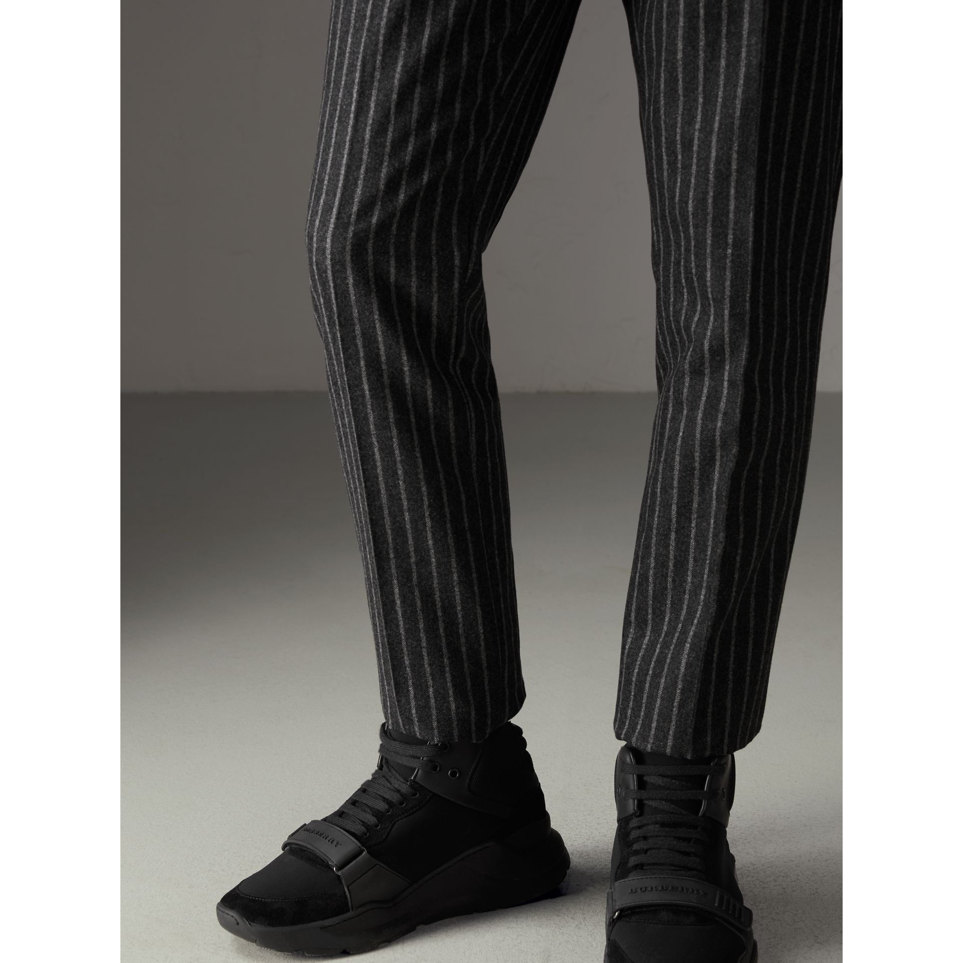 Pinstriped Wool Blend Twill Trousers in Dark Grey | Burberry - gallery image 1