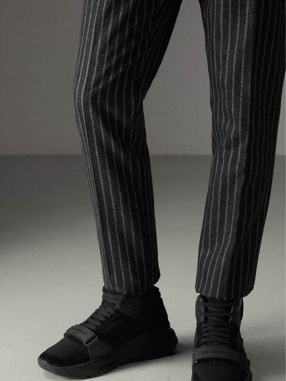 Pinstriped Wool Blend Twill Trousers in Dark Grey | Burberry - cell image 1