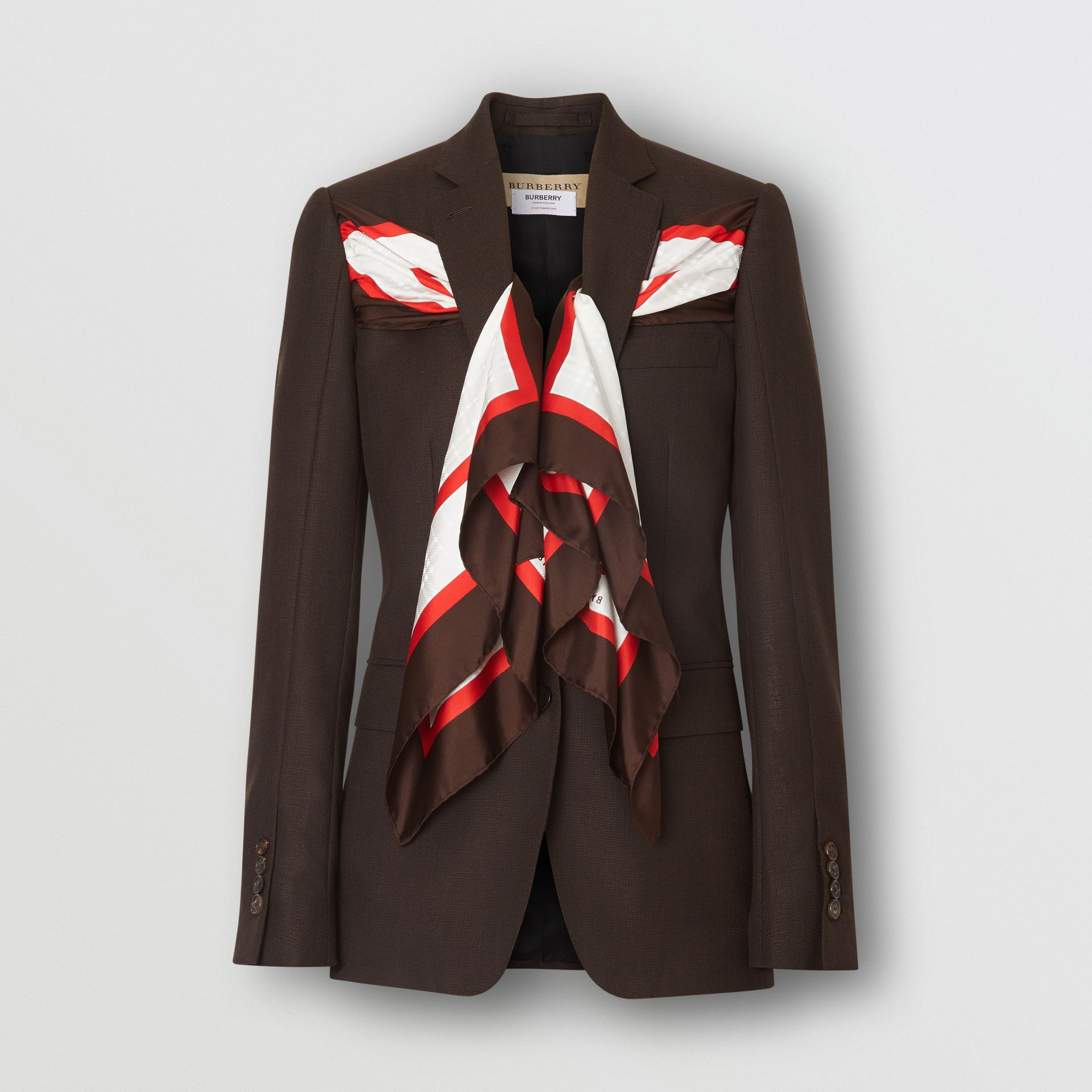 Silk Scarf Detail Wool Tailored Jacket in Coffee - Women | Burberry Singapore - gallery image 3