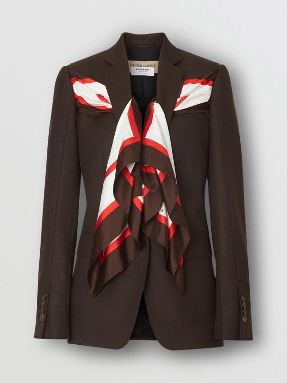 Silk Scarf Detail Wool Tailored Jacket in Coffee