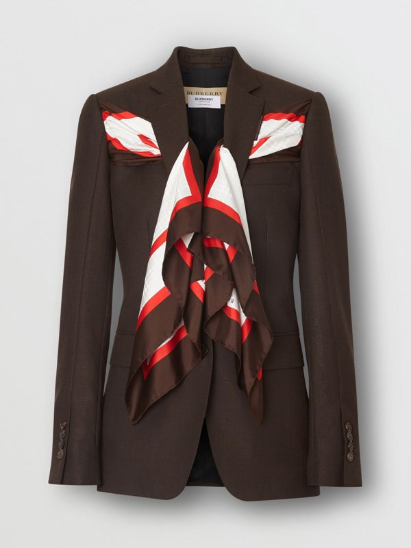 Silk Scarf Detail Wool Tailored Jacket in Coffee - Women | Burberry - cell image 3