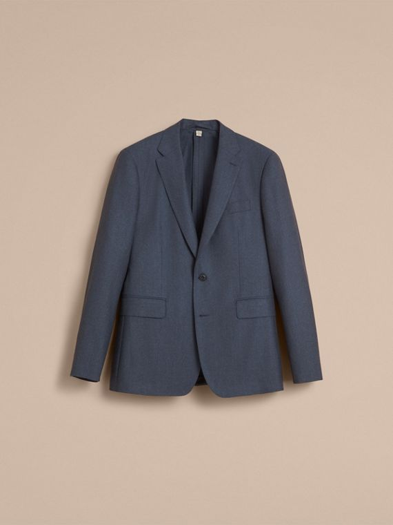 Soho Fit Wool Flannel Suit in Petrol Blue Melange - Men | Burberry - cell image 3
