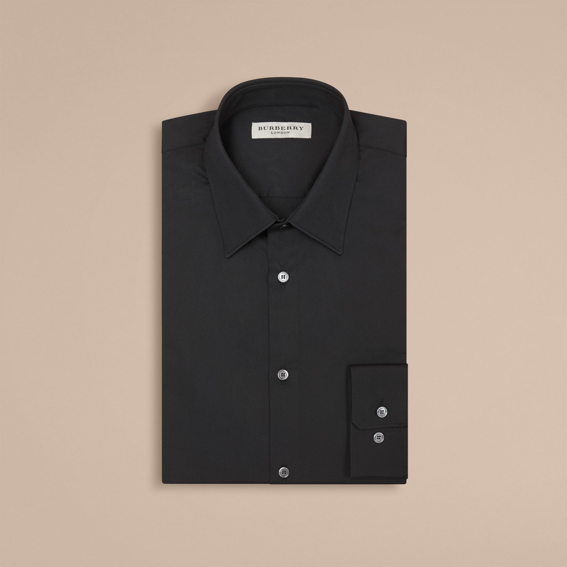 Slim Fit Stretch Cotton Shirt in Black - Men | Burberry Hong Kong - gallery image 4