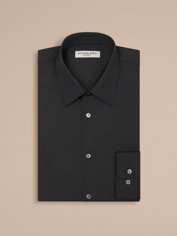 Slim Fit Stretch Cotton Shirt in Black - Men | Burberry Hong Kong - cell image 3
