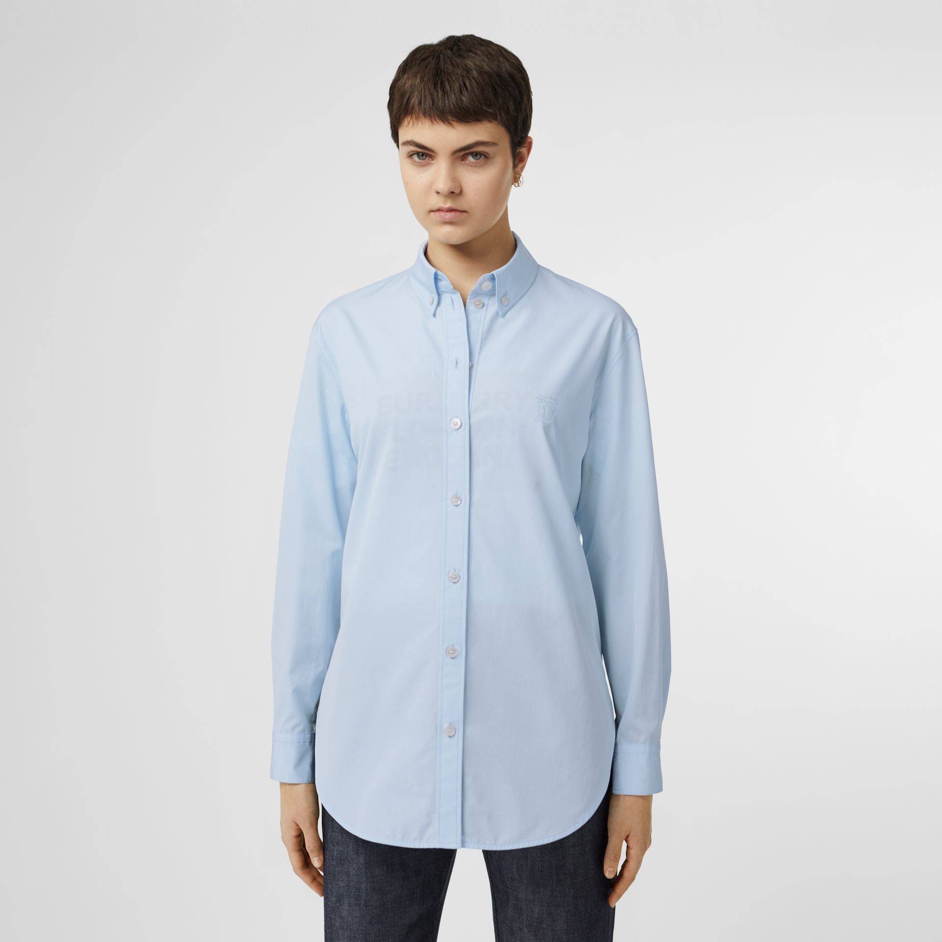 Button-down Collar Monogram Motif Cotton Shirt in Pale Blue - Women | Burberry - gallery image 4