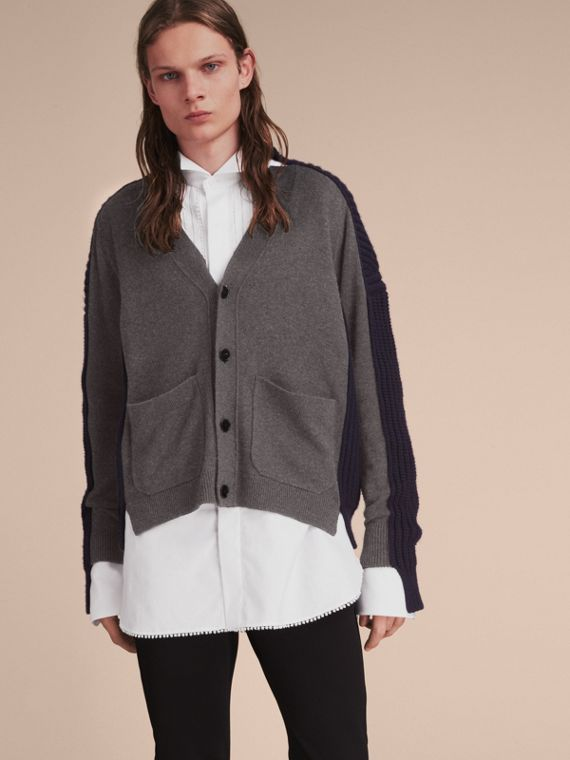 Two-tone Cashmere Cardigan with Ribbed Detail