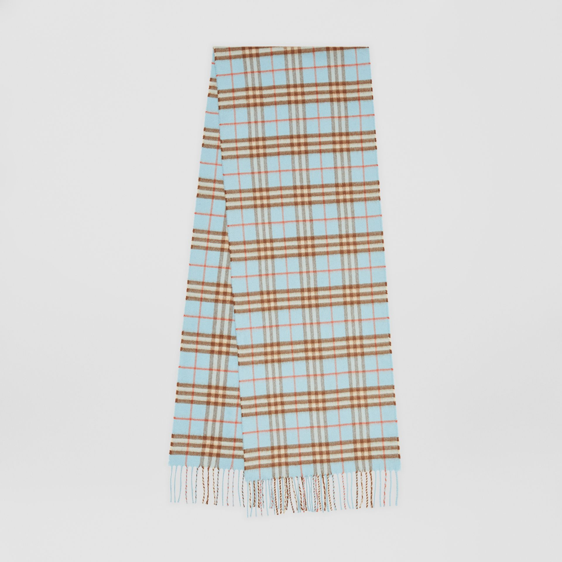 The Classic Vintage Check Cashmere Scarf in Pale Peridot Blue | Burberry United Kingdom - gallery image 0