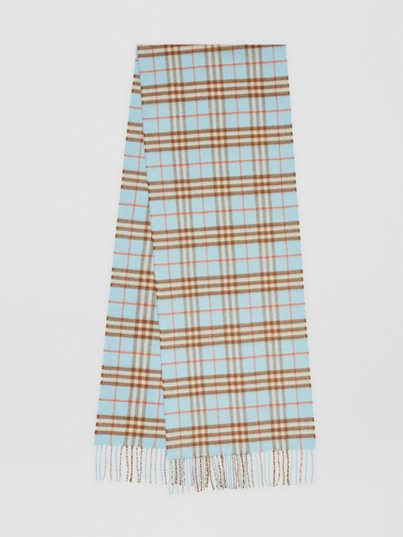 The Classic Vintage Check Cashmere Scarf in Pale Peridot Blue