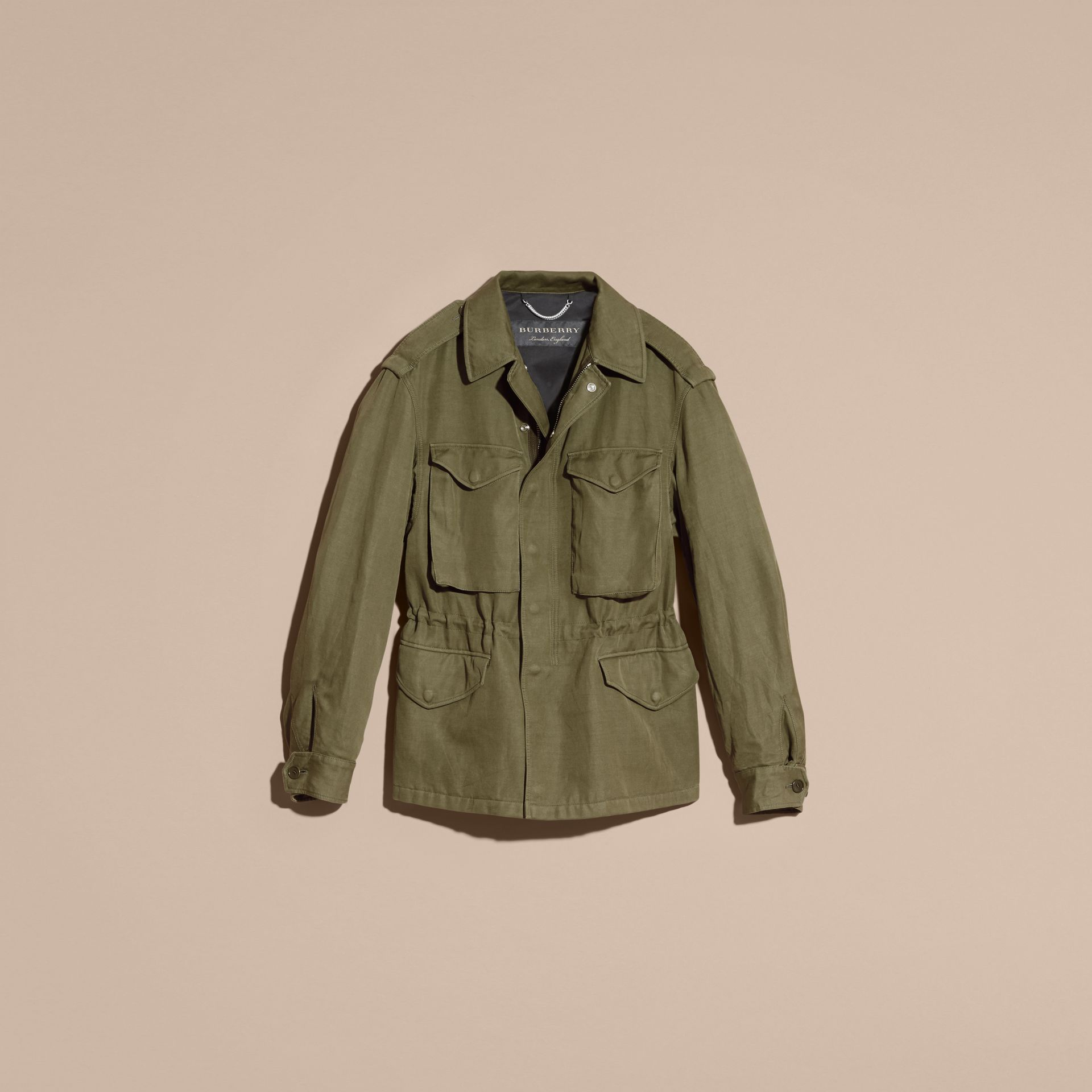 Military green Tumbled Ramie Cotton Twill Field Jacket - gallery image 4