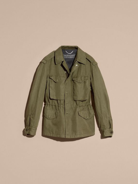 Military green Tumbled Ramie Cotton Twill Field Jacket - cell image 3