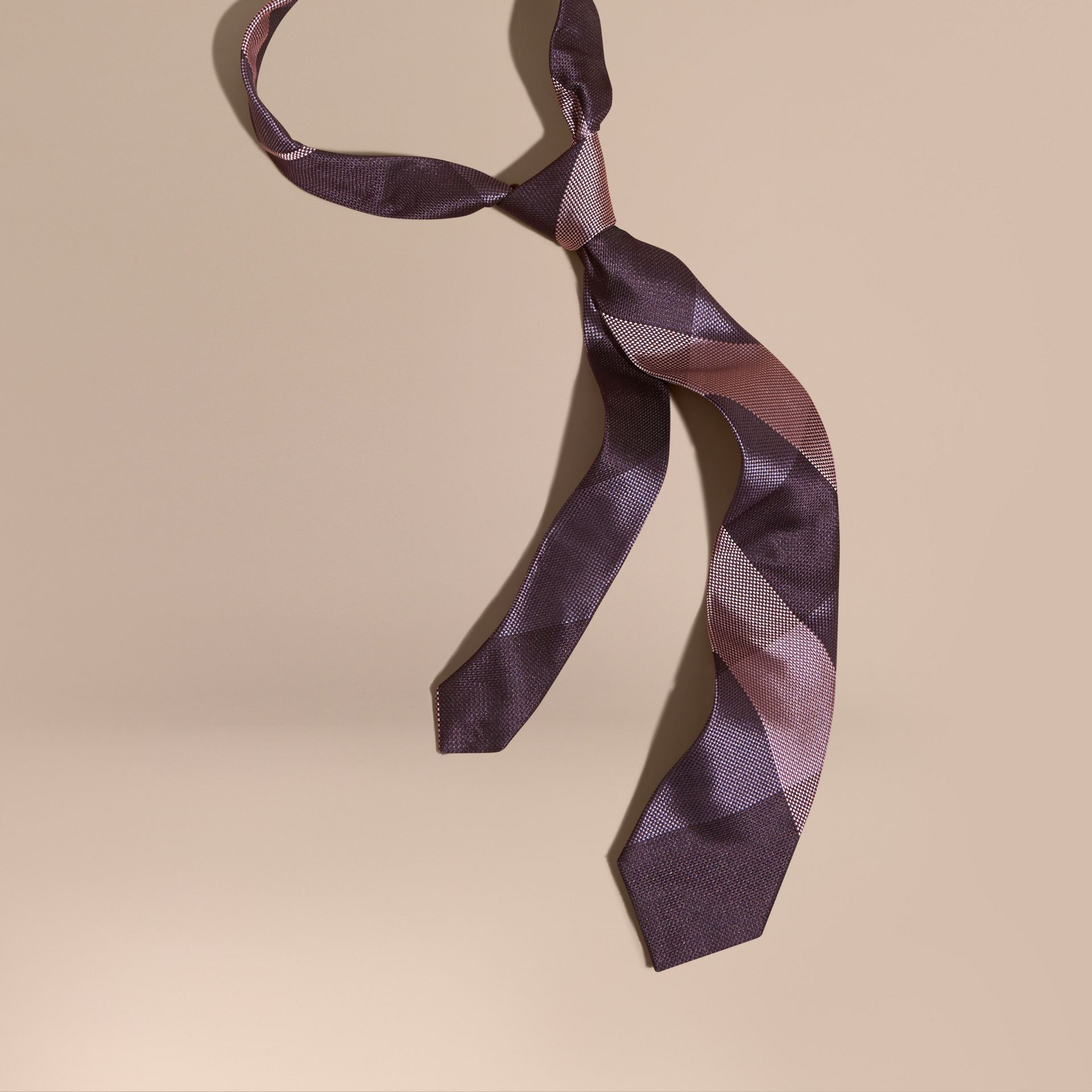 Heather Modern Cut Check Jacquard Silk Tie - gallery image 1