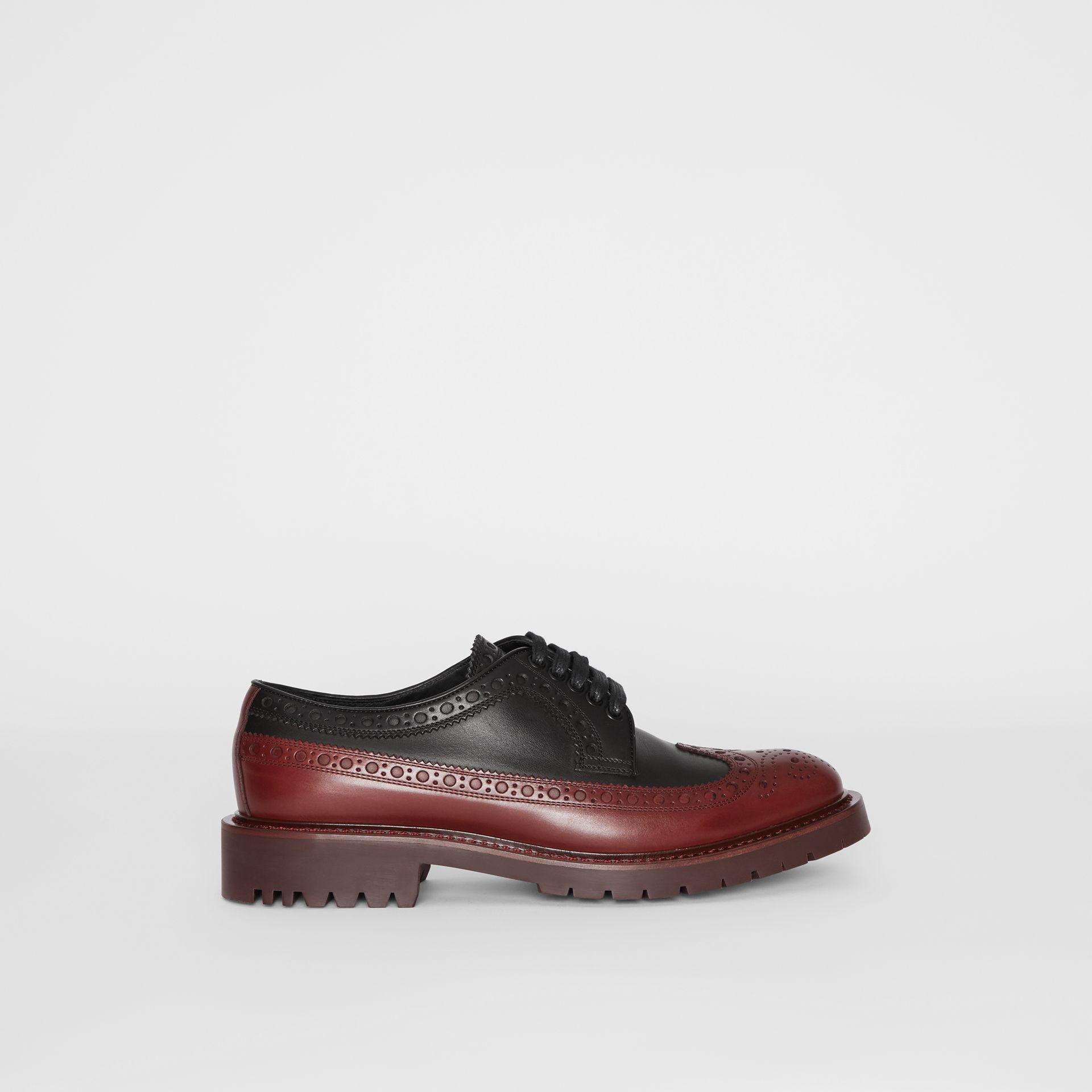 Brogue Detail Leather Derby Shoes in Black/antique Garnet - Men | Burberry - gallery image 5