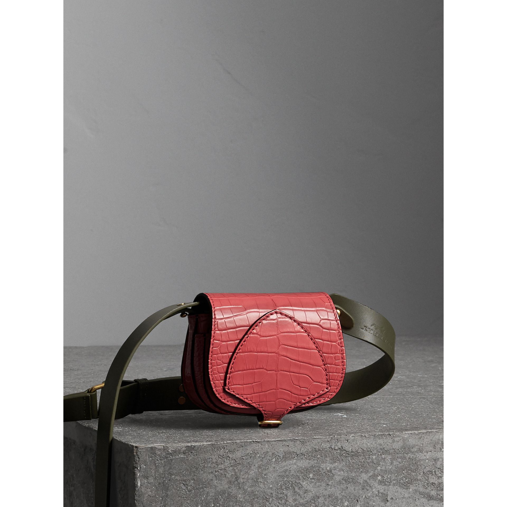 The Pocket Satchel in Alligator in Pink Azalea | Burberry - gallery image 7