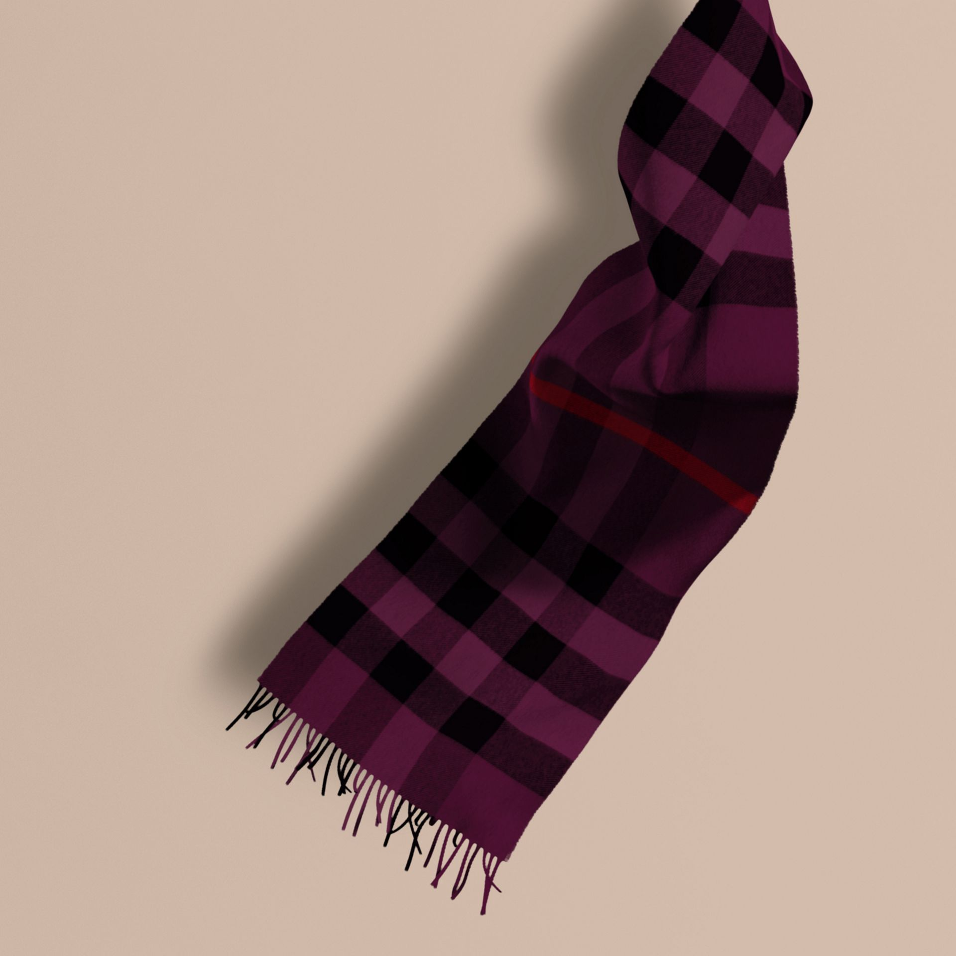 Aubergine The Large Classic Cashmere Scarf in Check Aubergine - gallery image 1