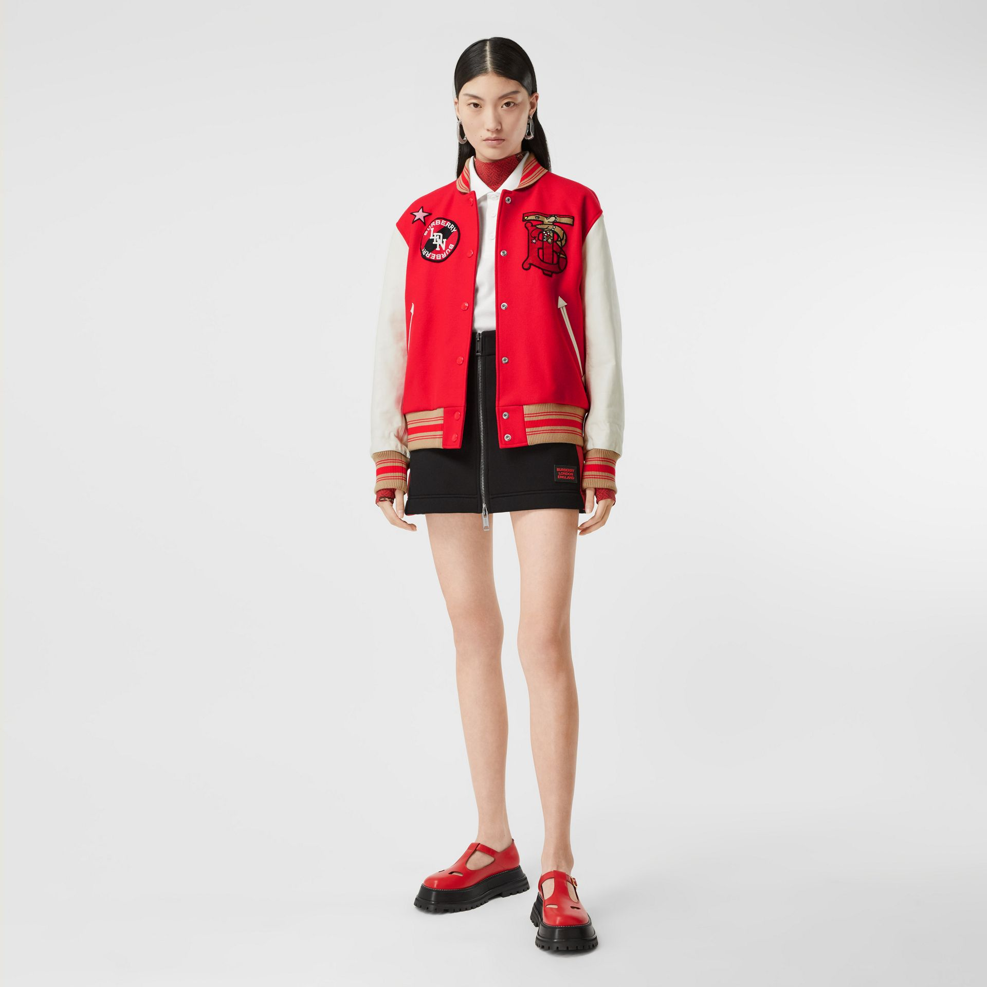 Contrast Sleeve Monogram Motif Wool Bomber Jacket in Bright Red - Women | Burberry - gallery image 0