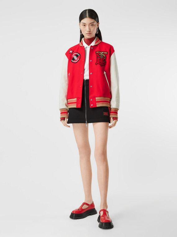 Contrast Sleeve Monogram Motif Wool Bomber Jacket in Bright Red