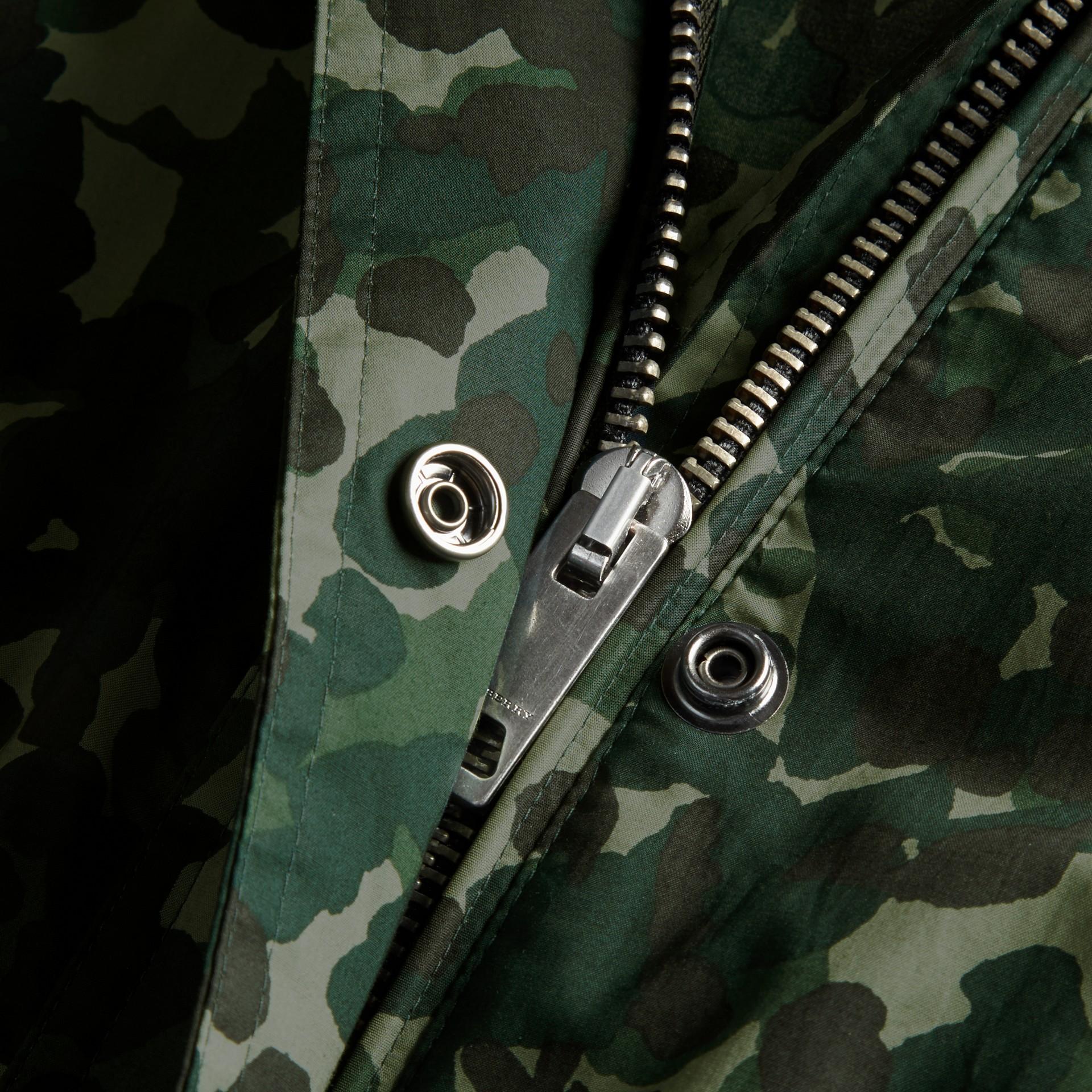Deep bottle green Showerproof Cotton Parka Jacket with Packaway Hood - gallery image 2