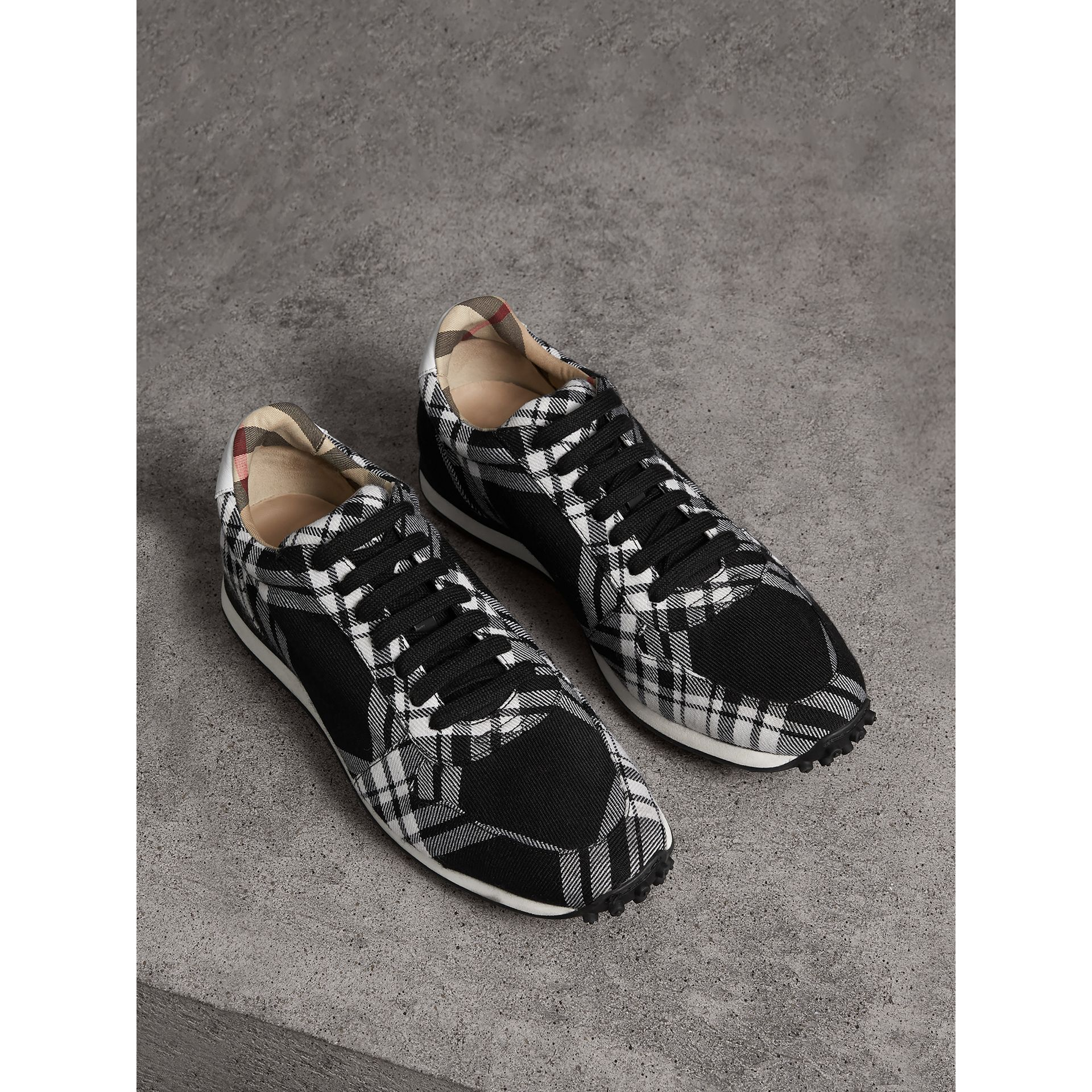 Tartan Wool Sneakers in Black - Men | Burberry - gallery image 0