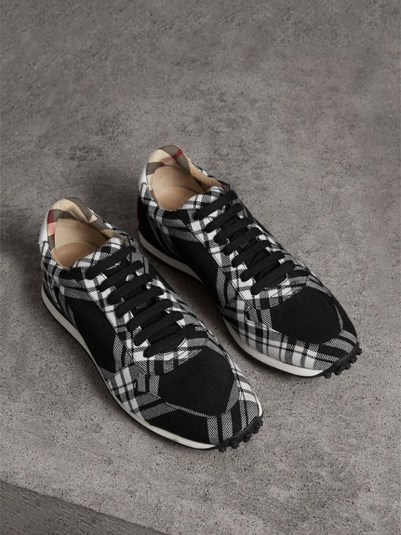 Tartan Wool Sneakers in Black