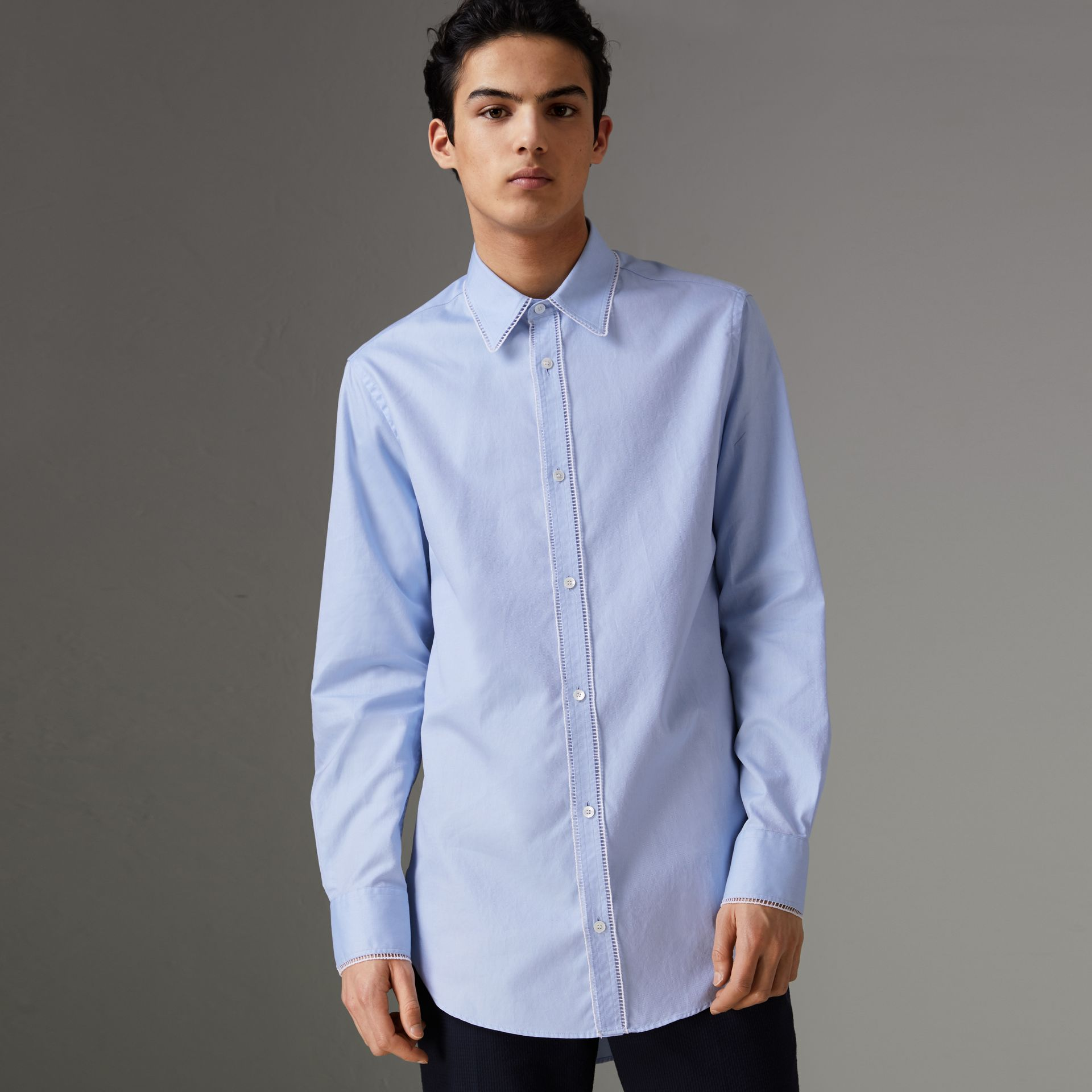 Embroidered Trim Cotton Oxford Shirt in Mid Blue - Men | Burberry - gallery image 0