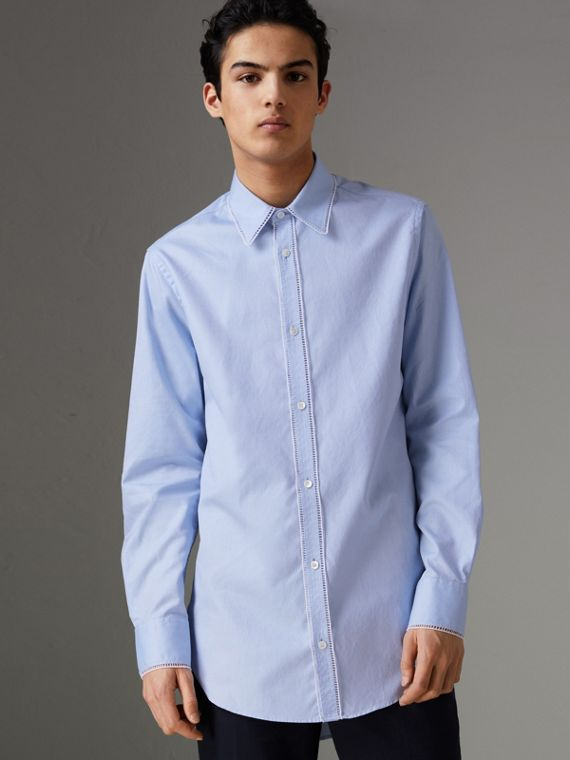 Embroidered Trim Cotton Oxford Shirt in Mid Blue