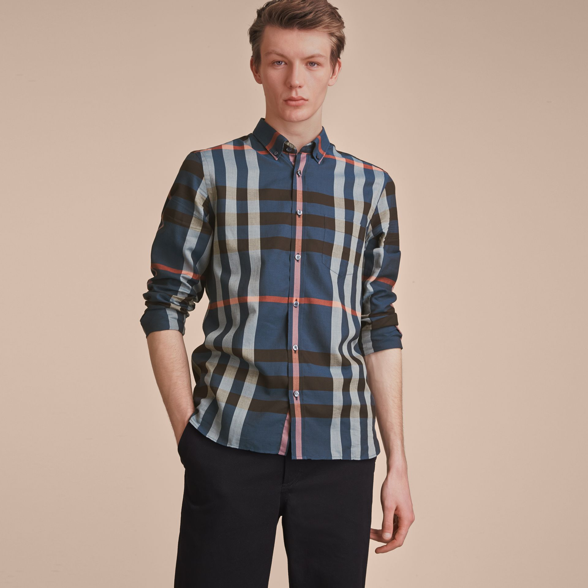 Button-down Collar Check Cotton Poplin Shirt in Ink Blue - Men | Burberry - gallery image 6