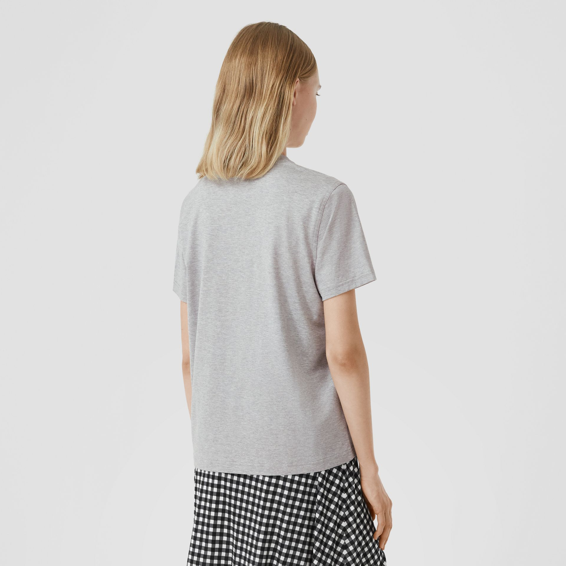 Monogram Motif Cotton T-shirt in Pale Grey Melange - Women | Burberry United Kingdom - gallery image 2