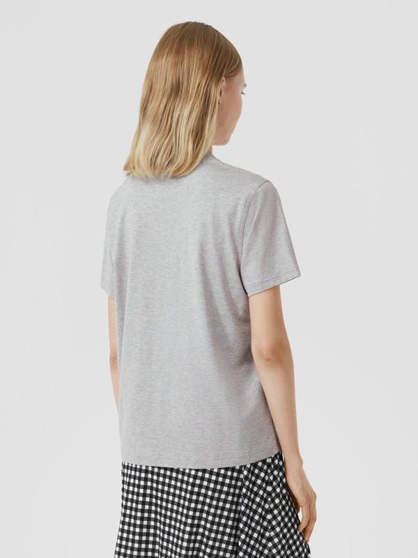 Monogram Motif Cotton T-shirt in Pale Grey Melange - Women | Burberry - cell image 2