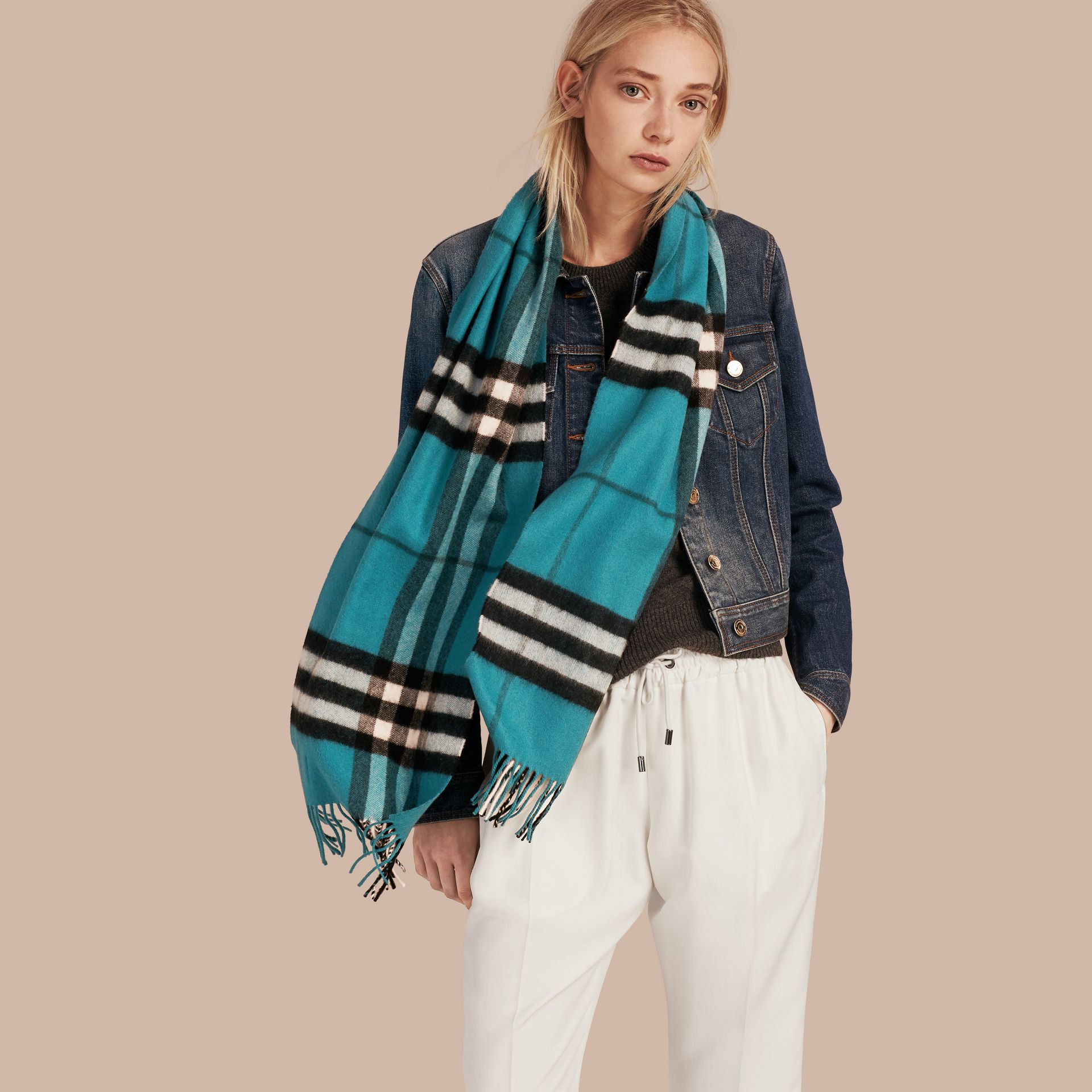 The Classic Cashmere Scarf in Check Dark Aqua - gallery image 3