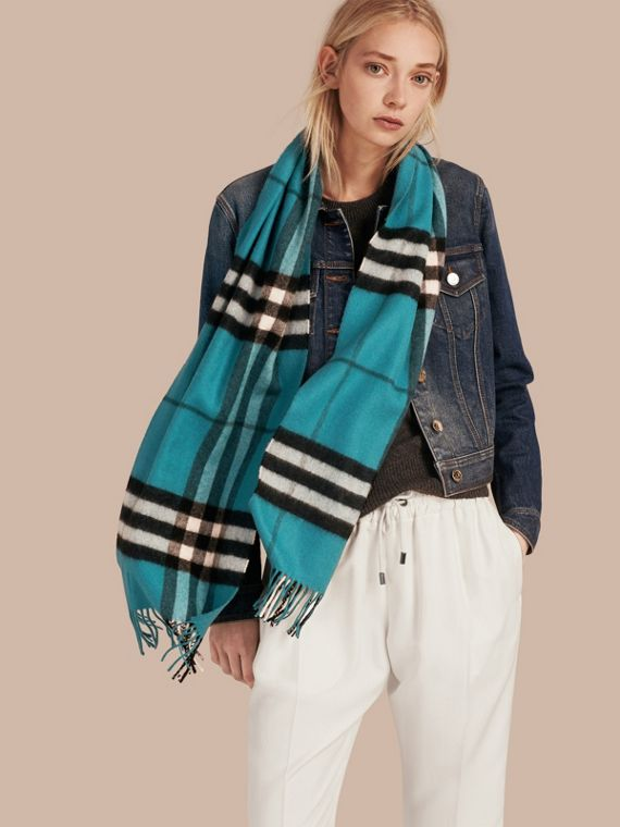 The Classic Cashmere Scarf in Check Dark Aqua - cell image 2