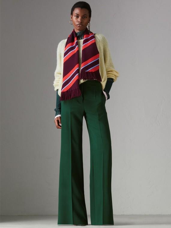 Sciarpa in lana e cashmere con motivo a righe in tre tonalità (Borgogna) | Burberry - cell image 2