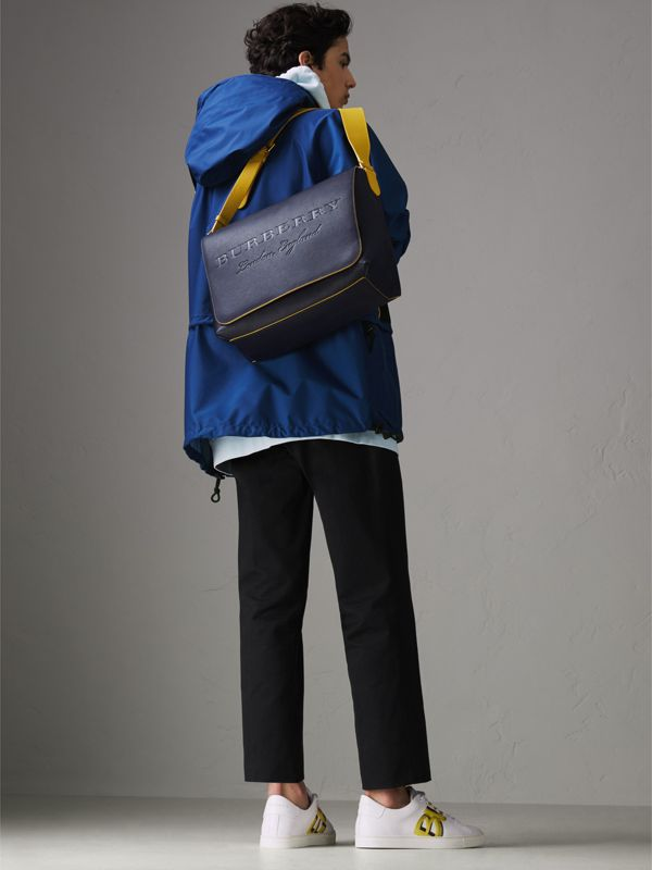 Large Two-tone Embossed Leather Messenger Bag in Regency Blue - Men | Burberry Singapore - cell image 2