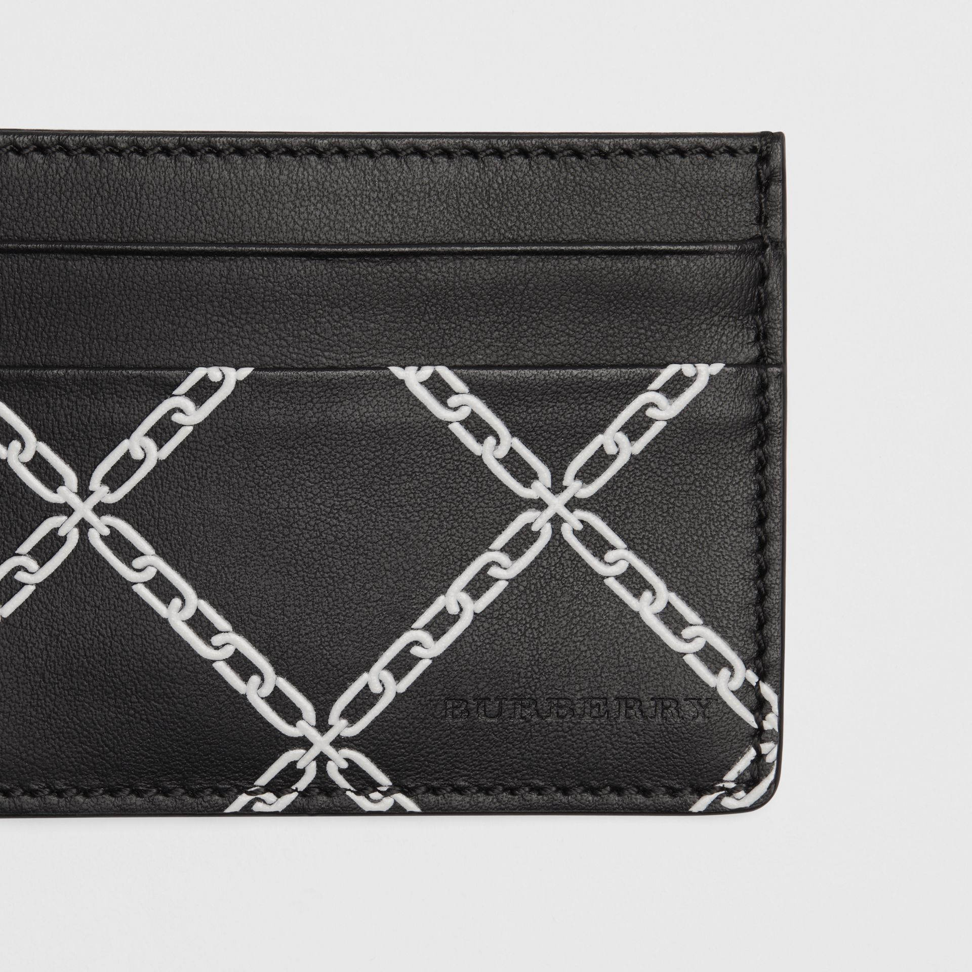 Link Print Leather Card Case in Black/chain | Burberry - gallery image 1