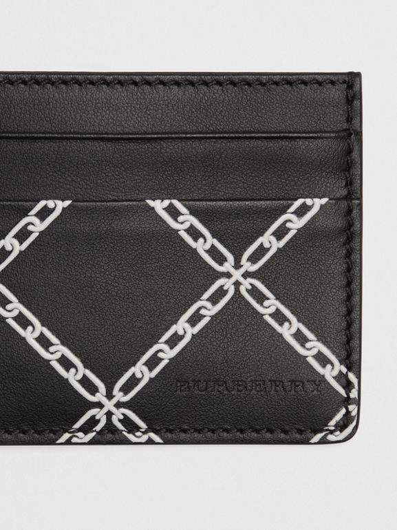 Link Print Leather Card Case in Black/chain | Burberry - cell image 1